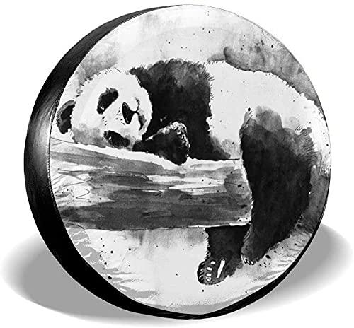Cubierta de neumático de repuesto de Panda negro acuarela,poliéster,universal,de 17 pulgadas,cubierta de neumático de rueda de repuesto para remolques,vehículos recreativos,SUV,ruedas de camiones,cam