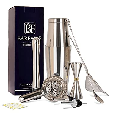 Barfame Cocktail Shaker Set Stainless Steel Bartender Kit: 18oz & 28oz Boston Shaker, Double Jigger, 8''Muddler, 2 Liquor Pourers, 12  Mixing Spoon, Cocktail Strainer, Cocktail Mesh Strainer