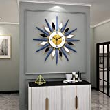 Reloj de pared grande de metal Sunburst Big Fancy decorativo con movimiento silencioso, estilo bohemio, moderno reloj de pared para sala de estar, dormitorio, decoración de oficina, color azul