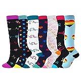 Calcetines de compresión para mujeres y hombres, 7 pares de medias de compresión médicas 15-20 mmHg Calcetines de sujeción coloridos para deportes, venas varicosas, correr, ciclismo, senderismo