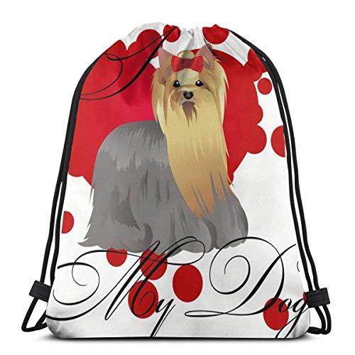 Bolsas De Cuerdas Gimnasio,Mochila con Cordón,Amo Mi Yorkshire Terrier para Hombre para Mujer Athletic Premium Quality Pull String Bag para Viajar Yoga Shopping School Workout Beach