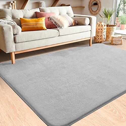 Color&Geometry Soft Modern Shag Area Rugs, 4x5.3 Feet Indoor Living Room Carpet for Bedroom Home Decor Floor Mat Nursery Rug,Grey