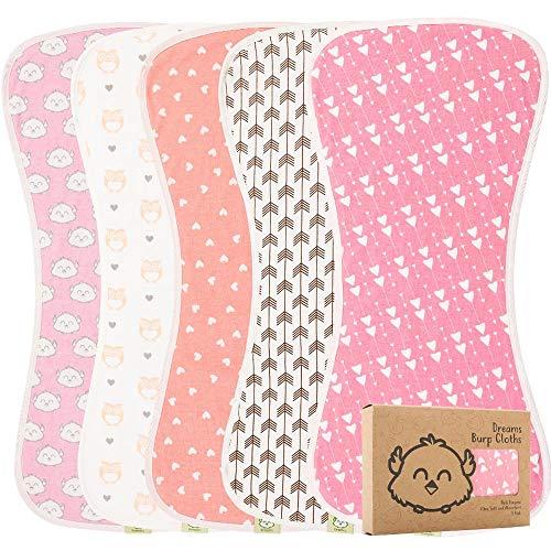 Organic Burp Cloths for Baby Boys and Girls - 5-Pack Ultra Absorbent Burping Cloth, Burp Clothes, Newborn Towel - Milk Spit Up Rags - Burpy Cloth Bib for Girl - Burp Cloths (Pink Dreams)