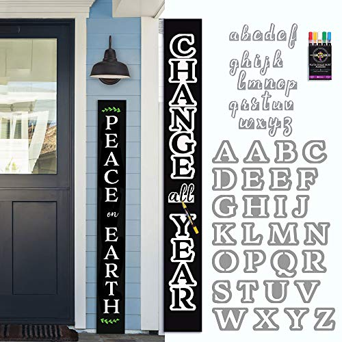 Porch Chalkboard Sign Kit (~ 5 ft Chalkboard, Magnetic Letter Stencils, 6 Acrylic Paint Pens) Craft Kit -Tall Outdoor Welcome Sign for Front Porch - Vertical Welcome Sign for Porch, Outdoor Fall Decor