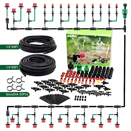 Jepeux Drip Irrigation Kit, with Stainless Steel Clamp and Thick Tube Garden Irrigation Systems.Firmer Connector and More Stable Water Pressure, for Garden, Greenhouse, Lawn, Hanging Baskets