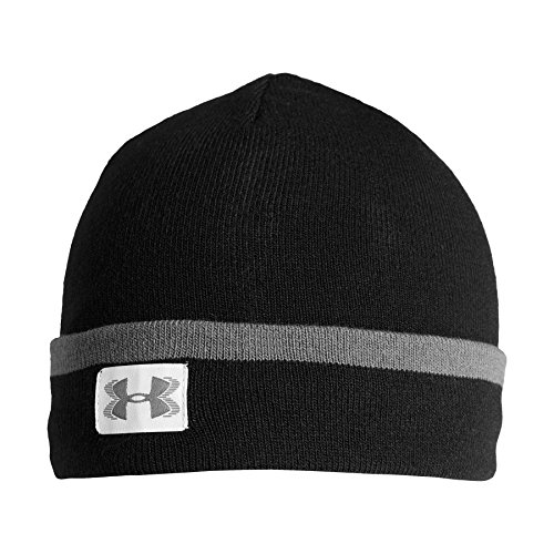 Under Armour Men's ColdGear Infrared Cuff Sideline Beanie, Black (001)/Graphite, One Size Fits All