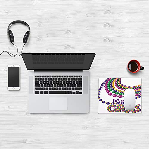 Comfortable Mouse Pad 32x25 cm,Mardi Gras, Collares de Abalorios de Colores con diseño de caligrafía de Mardi Gras,Base de Goma Antideslizante Wipe Washable para Gamers Ordenador, PC y Laptop32x25 cm