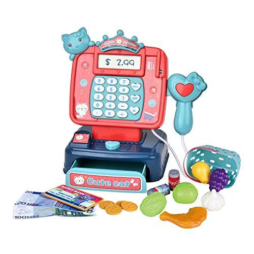 JoyGrow 21 Stück Kasse Kinder Rollenspiel Supermarkt Spielzeug Kaufladen Kaufmannsladen Zubehör Registrierkasse Supermarktkasse mit Scanner und Geld,Geschenk für Kinder Junge Mädchen ab 3 4 5 Jahren