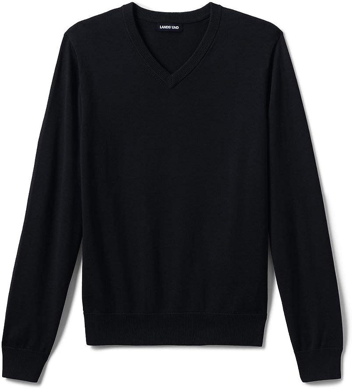 Lands' End School Uniform Men's Cotton Modal Fine Gauge V-Neck Sweater