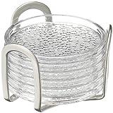 iDesign Untersetzer Set mit Halter, praktisches Küchenzubehör aus Kunststoff und Edelstahl, 6er-Set Glasuntersetzer, durchsichtig und silberfarben