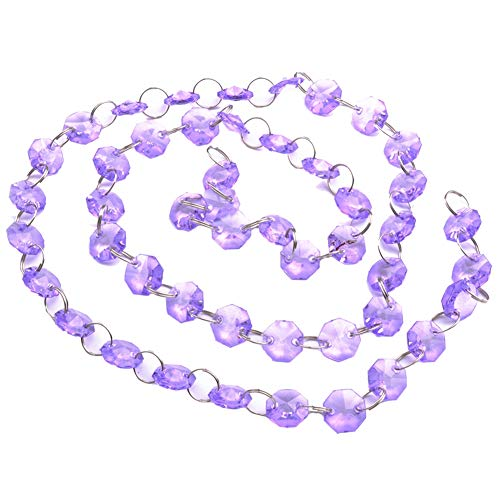 1m Acrylic Crystal Octagon Beads Strands Wedding Christmas Party Hanging Decoration Hanging Bead String (Purple)