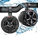 Waterproof Off-Road Speakers with Amplifier - 4 Inch 800W 2-Channel Marine Grade Waketower Speakers System Full Range Outdoor Audio Stereo Speaker for ATV, UTV, Quad, Jeep, Boat - Pyle PLUTV42CH