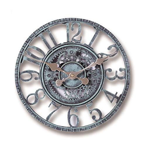 Chilits 1 reloj de pared digital de 12 pulgadas, funciona con pilas 3D, relojes de pared vintage envejecidos, relojes silenciosos, no hacen tictac, para hotel, oficina, hogar, dormitorio, sótano