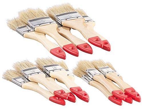 AGT Pinsel: 15-teiliges Flachpinsel-Set mit Holzstielen und Naturborsten, 3 Größen (Malerpinsel)
