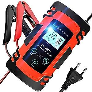 TOPERSUN Cargador Baterias Coche 8A 12V/24V Cargadores de Batería de Coche Múltiples Protecciones Cargador Rápid con Pantalla LCD Digital para Coche Motocicleta ATVs RVs