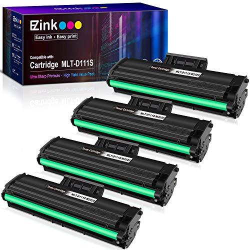 E-Z Ink (TM) Compatible Toner Cartridge Replacement for Samsung 111S 111L MLT-D111S MLT-D111L to use with Xpress M2020W Xpress M2024W Xpress M2070W Xpress M2070FW Printer (Black, 4 Pack)