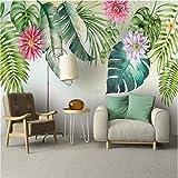 Ponana Papel Pintado Mural Moderno Del Sudeste Asiático 3D Plantas Tropicales Hojas Verdes Floral Acuarela Estilo Mejoras Para El Hogar Papel De Pared 3D-450X300Cm