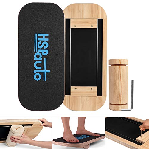 "HSPauto Balance Boards, Wood Balance Board W/Special Orbit Design & 27.6"" Wood Standing Desk Anti-Slip Surface & Roller for Surfing, SUP, Wakesurf, Wakeskate, Ski, Snowboard and Skateboarding"
