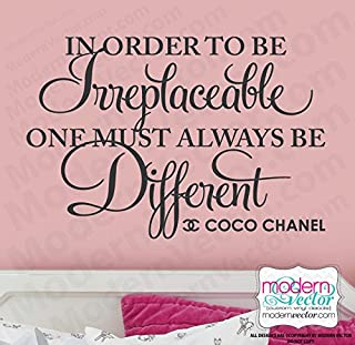 Coco Chanel Irreplaceable Quote Vinyl Wall Decal