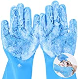 pecute Pet Grooming Gloves, Dog Wash Mitt Bathing Gloves with High Density Bristles, Silicone Hair Removal Gloves with Enhanced Five Finger Design, Bathing and Massaging for Dogs and Cats