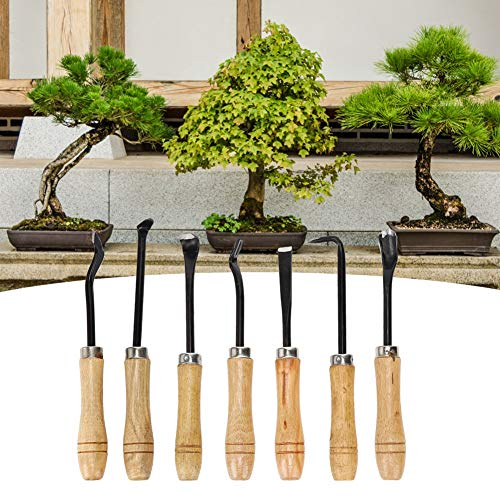 Omabeta Juego de cinceles para tallar 7Pcs / Se Kit de Herramientas para Bonsai Talla de jardín portátil para Herramientas de jardinería Bonsai