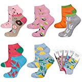 soxo lustige Damen Sneakersocken | Größe 35-40 | Bunte Damensocken aus Baumwolle mit witzigen Motiven | Besondere, mehrfarbig gemusterte Socken für Frauen | 5er Pack