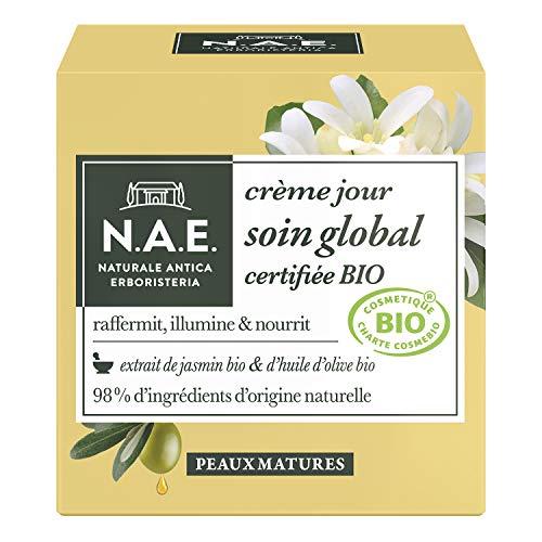 N.A.E. - Crème Visage de Jour - Certifiée Bio - Soin Global - Peaux Matures - Extrait de Jasmin Bio et d'Huile d'Olive Bio - 98% d'ingrédients d'origine naturelle - Contenant de 50 ml