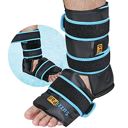 SuzziPad Ankle Ice Pack Wrap for Injuries with Double-Sided Fabric Cover, Foot Ice Pack with Cold Compression Therapy, Pain Relief for Achilles Tendon, Plantar Fasciitis, Sprained Ankles Foot Pain