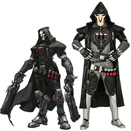 OW Reaper Cosplay Costume Men's Halloween Game Anime Outfits Gabriel Reyes PU Leather Full Set