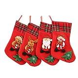 YKKJ 4PCS Medias de Navidad(35 * 26CM) Calcetin Chimenea para Chimenea Decoraciones Calcetines decoración de Navidad y Accesorio de Fiesta