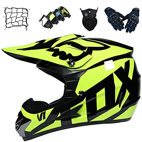 Aidasone Adult Full Face Off-road Motorcycle Helmet with Goggles/Mask/Gloves/Bungee Net, Childrens Mountain Bike Downhill Off-road Helmet, Motorcycle Crash Helmet - with FOX Design,S
