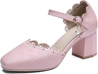 BalaMasa Womens ASL06555 Pu Block Heels