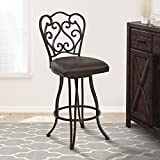 Armen Living Celeste 30' Bar Height Swivel Barstool in Bandero Espresso Fabric and Auburn Bay Finish