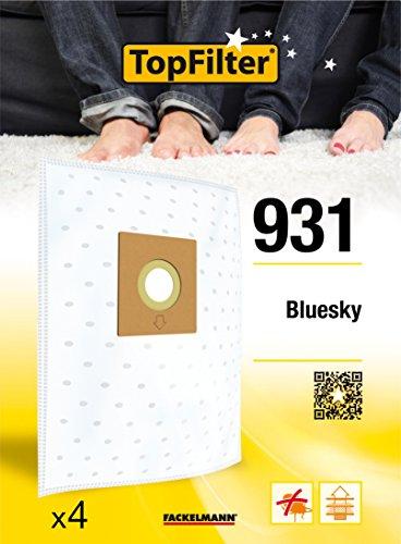 TopFilter 931, 4 sacs aspirateur pour Bluesky boîte de sacs d'aspiration en non-tissé, 4 sacs à poussière (30 x 26 x 0,1 cm)