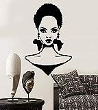 Pared de vinilo Chica africana Cara Peinado Continente África Pendientes Diseño interior Art Deco