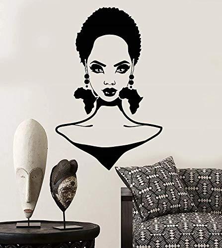 Pared de vinilo peinado de niñas africanas continente africano pendientes decoración de diseño de interiores