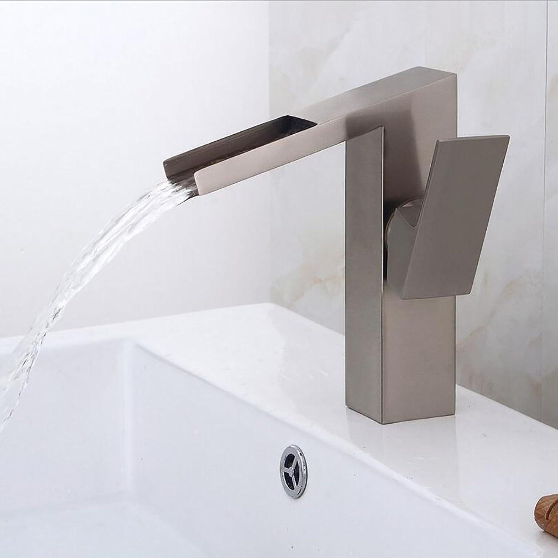 Rubinetto FANGQIAO SHOP Wasserhhne aus gebürstetem Becken , Badezimmer-Wasserfallhahn , Warm- und Kaltmischer mit Gegenbecken in Messing-Hotelwasserhhne