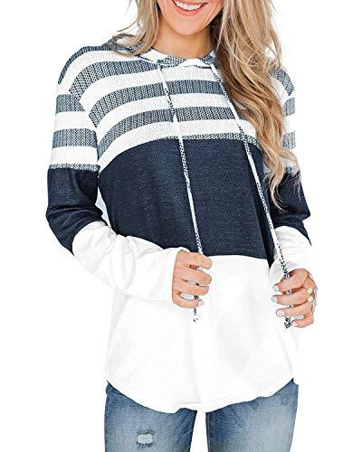 ABRAVO Mujer Sudadera con Capucha Manga Larga Jerséis Sueltos Sudadera con Estampado la Camiseta Otoño Invierno Mujer Chándal (M  Rayado Blanco)