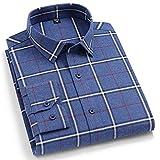 Camisas Manga Larga Hombre,Camisa A Cuadros De Algodón con Rayas Azules Clásicas A Cuadros Camisas Casuales De Manga Larga con Bolsillo Botones con Botones Padre Novio, XS