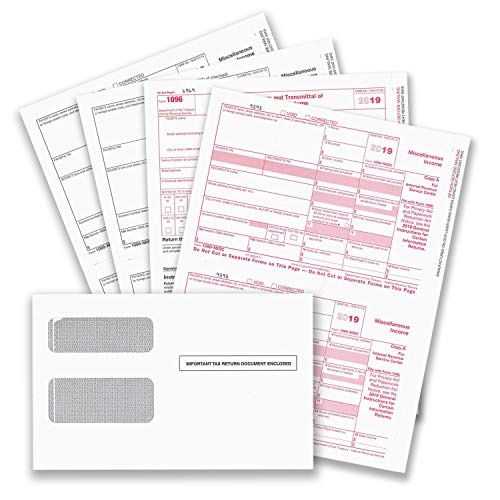 1099 MISC Forms for 2019, 4-Part Tax Forms, Vendor Kit of 25 Laser Forms and 25 Self-Seal Envelopes, Forms Designed for QuickBooks and Other Accounting Software