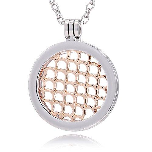 Morella® Damen Halskette 70 cm Edelstahl und Anhänger mit Coin Wasserornament Rosegold 33 mm im Schmuckbeutel