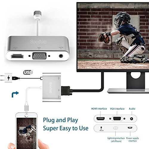 Goodex Lightning to HDMI VGA Audio Adapter Converter Cable, Plug and Play 3-in-1 iPhone/iPad/iPod to Projector Display TV, Silver