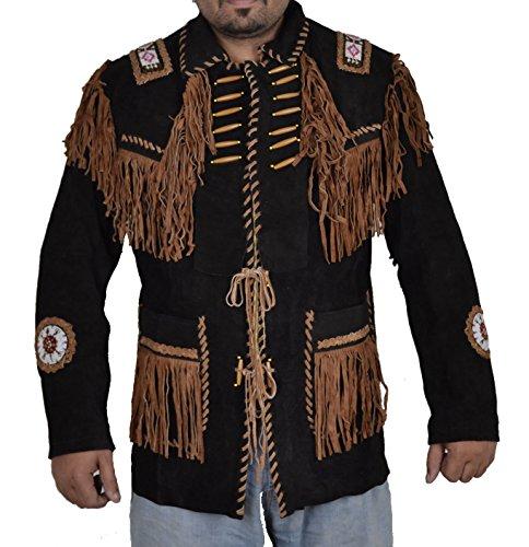 Classyak Abrigo de cuero de vaquero indio con flecos y cuentas para hombre