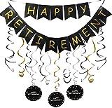 Happy Retirement Banner and Happy Retirement Hanging Swirls for...