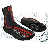 Cubiertas de zapatos de ciclismo para invierno, impermeables, resistentes al viento, cálidas, para montaña, carretera, bicicleta, para deportes al aire libre, lluvia, zapatos large rosso