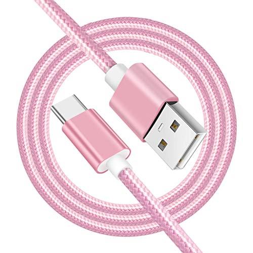 KESOTO Cable USB Tipo C, USB A 2.0 A USB-C Cable USB N Trenzado De Nylon con Cargador Rápido para Teléfonos Inteligentes Dispositivos USB C - Oro Rosa