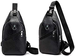 Men's Leather Chest Cycle Sling Pack Satchel Cross Body Shoulder Bag Day Packs