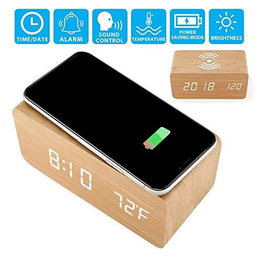 pnxq88 Reloj Despertador con Cargador inalámbrico Qi Reloj Digital LED de Madera con Fecha Control de Voz Reloj Multifunción para iPhone para Samsung