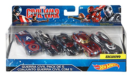 Hot Wheels Paquete de 5 Coches inspirados en Personajes de Civil War, de Marvel