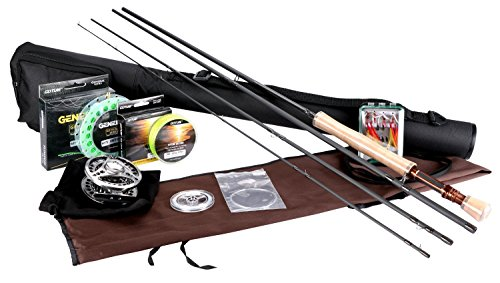 Goture para pesca con mosca Rod y carrete Combos para agua salada agua dulce 5/6 y 7/8 para principiantes y pescador pesca con mosca vuela señuelos Kit completo con caña caso